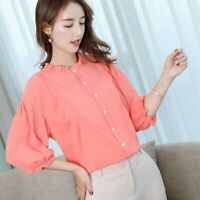 Ladies Loose Fashion Long Sleeve T-Shirt Blouse Women Summer Chiffon Top Shirt