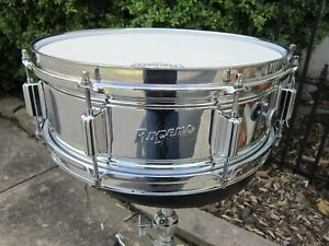 Rogers 5 x 14 Powertone Chrome Over Brass Snare Drum Vintage 1969