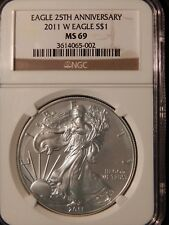 2011-W SILVER EAGLE 25TH ANNIVERSARY $1 NGC MS69 Brown Label