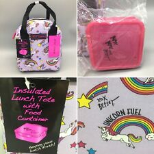 2pc Betsey Johnson Unicorn Rainbow Insulated Lunch Tote Bag Purple Authentic NEW