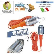 LAMPADA PORTATILE CON 10 MT DI CAVO GANCIO LAVORO VIAGGIO AUTO CAMPER ROULETTE
