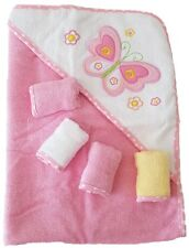 Baby Kapuzenbadetuch + 4st. Waschtücher 100% Baumwolle Geschenkset 5 teilig Pink