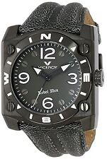 NEW Viceroy 432119-55 Mens Rebel Black Ion-Plated SS Square Case Gray Band Watch