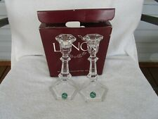 """Lenox Crystal Set Of 2 Candle Holders Candlestick 8"""" Tall With Original Box"""