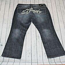 Ed Hardy 38X32 Embellished Bling Stretch Boot Cut Leg Med Stonewash Blue Jeans