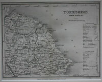 NORTH RIDING OF YORKSHIRE original antique county map, Joshua Archer, 1847