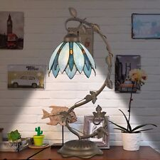 Tiffany Style Table Lamp Accent Flower Shape Stained Glass Home Desk Lamp