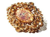 Broche alliage doré médaillon lucite multicolore brooch