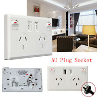 Dual USB Port Wall Socket Charger DC Power Receptacle Outlet Plate Panel AU Plug