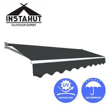 Instahut 2M x 2.5M Outdoor Folding Arm Awning Retractable Sunshade Canopy Grey