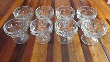 "Libbey Set 8 Ice cream/Sundae Soda  GLASSES Basket weave  Short Stem 3""  EC"