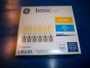 NEW GE Basic 60-Watt EQ E12 Base CAC LED Soft White Dimmable Light Bulb 6 BULBS