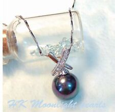 PROMOTION SALE! Tahitian Black Pearl(12mm)Silver Cross Pendant + S925  Necklace