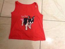 pyjama vest top size 12-14 deep pink/red dog theme