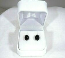 6.26 ct Natural Oval Black Onyx Solid Sterling Silver Stud Earrings