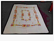 "Vintage White Tablecloth Fruit Print Design 86"" x 58"""