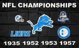 Detroit Lions NFL Championship Flag 3x5 ft Black Sports Banner Man-Cave Garage