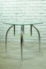 Side Table Modern Glass and Chrome with Lower Shelf Square