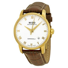 Mido Baroncelli Automatic White Dial Brown Leather Mens Watch M86003268-AU