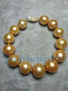 natural 12-13MM SOUTH SEA golden PEARL bracelet 14K GOLD AAA
