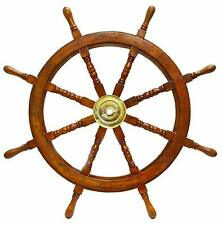 "Vintage Collectible Brass Wall Boat 36"" SHIP WHEEL Wooden Ship Steering HALLOWEE"