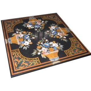 "42"" x 42"" Inlay Pietra Dura Handmade Work Black Marble Center Table Top"