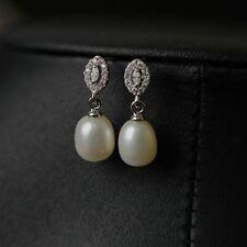 Boucles d'Oreilles Clous Perle de Culture Blanche Argent Massive 925 Ovale