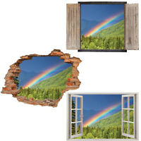 Window Wall Sticker Decal Vinyl 3D Rainbow Trees Green home art room decor