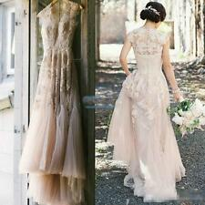 Vintage Blush Tulle Wedding Dresses 2017 Cap Sleeve Appliques Lace Bridal Gowns