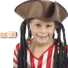 Deluxe Childs Pirate Hat with Hair Fancy Dress Boys Kids Jack Sparrow Costume Ac