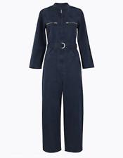 New M&S Womens Denim Blue Twill Belted Boilersuit Jumpsuit Size 6-22 RRP £75