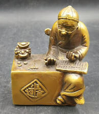 Chinese archaize Brass Old man Careful calculation Wealth Statue