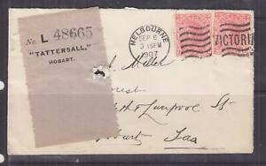 VICTORIA, 1907 Tatt's cover with Label attached, 1d.(2), Melbourne cds.