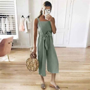 UK Womens Strappy Playsuit Jump Suit Ladies Loose Belt Summer Casual Culottes