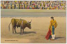 Matador Engaging Bull, Mexico - Vintage Linen Postcard