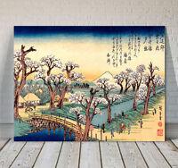 "Beautiful Japanese Art ~ CANVAS PRINT 8x12"" ~ Hiroshige Sunset Glow Koganie"