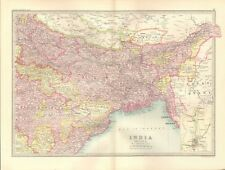 1890 ANTIQUE MAP - INDIA, SECTION 2, NORTH EAST, CALCUTTA, LOWER BURMA