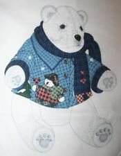 """New Snowman 18"""" Polar Bear Fabric Project Panel Stuffed Toy Sewing Material"""