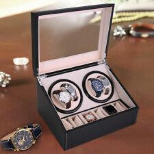 Display Case Box 4+6 Automatic Rotation Black Leather Watch Winder Storage Auto