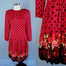 VTG 80's 90's MAGGY LONDON Silk Polka-Dot Floral Bubble Dropped Waist Dress M 10