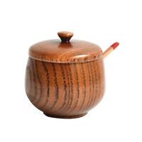 Jujube Wood Seasoning Jar with Lid Natural Salt Canister Kitchen Spice Storage P