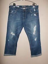 Decree Juniors Size 11 Distressed Blue Jean Rolled Up Capris