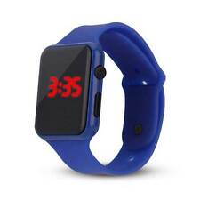 LED Watch Sports Silicone Rubber Digital Unisex Women Men Boys Girls Gift UK Orange