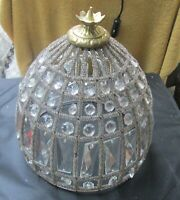Antique Dome Shaped Crystal Shade or Fixture Cover, 120 Crystals & 1,000 Beads.