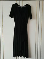ASOS WOMENS BLACK CROSS OVER DRESS SIZE 10 MIDI LENGTH 47 SHORT SLEEVE STRETCH
