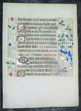Illuminated medieval BoH lf.Psalm 41/42,8 colorful gold initia&3 borders,c.1475