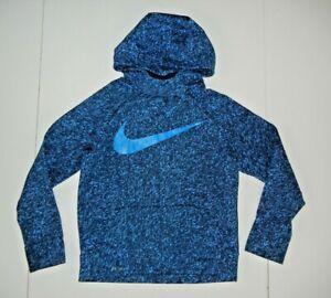 NIKE DRI-FIT Blue/Black ELEPHANT PRINT HOODIE Sweatshirt Warm Gym Kid Sz YOUTH M
