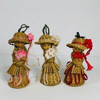 Vintage Straw Girls with Hats Christmas Ornaments Lot of 3 Tree Decorations