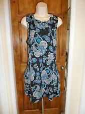 Pretty black+blue floral tunic dress from QED size 8