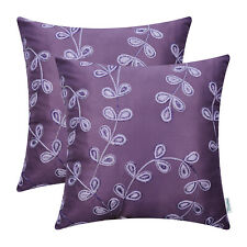 """2Pcs Purple Cushion Covers Pillows Cases Growing Leaves Chain Embroidered 18x18"""""""